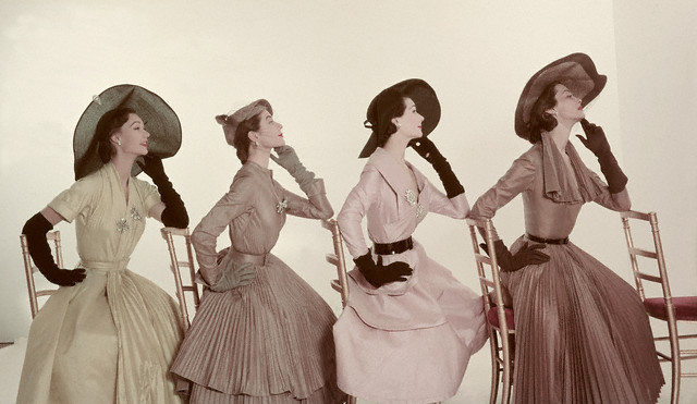Four Models in Taffeta Shantung Dresses